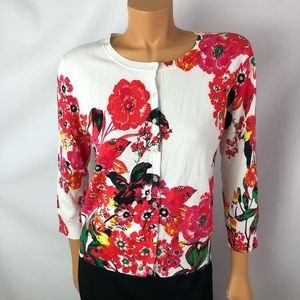 Cable&Gauge floral knit  light weight cardigan SzM